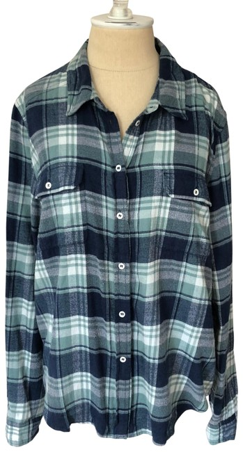 Item - Blue and Green Brushed Flannel Plaid Trudy Button-down Top Size 8 (M)