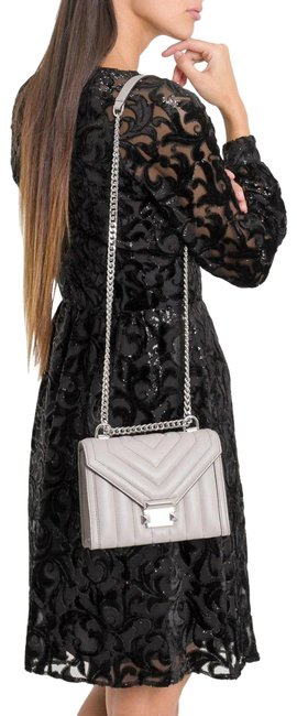 Item - Whitney Large Quilted Convertible Grey Lambskin Leather Shoulder Bag
