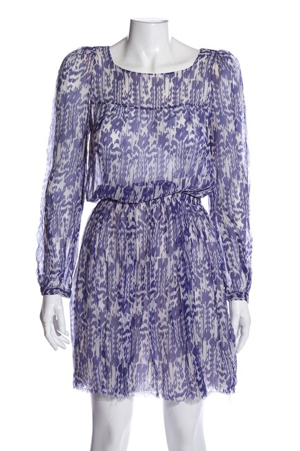 Item - Blue Pattern Silk Long Sleeve Knee-length Mid-length Short Casual Dress Size 0 (XS)
