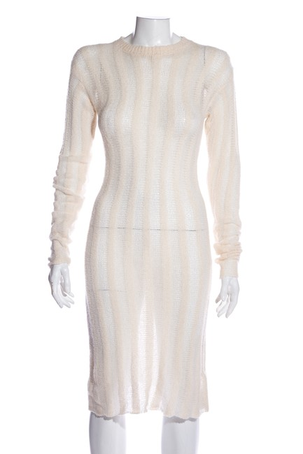 Item - White Silk Cashmere Mid-length Short Casual Dress Size 4 (S)