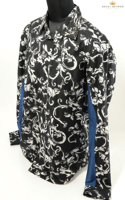 Item - Black/White Crystal Collar Acid Baroque In Blue Shirt