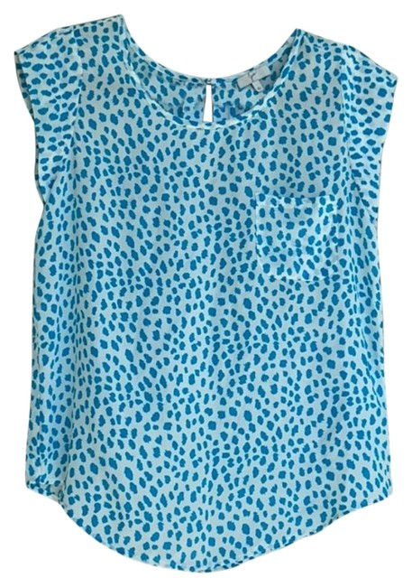 Joie Turquoise/White Na Blouse Size 2 (XS) Joie Turquoise/White Na Blouse Size 2 (XS) Image 1