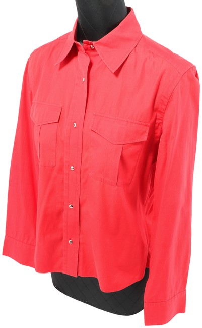 Item - Red Woman's Long Sleeve Buttoned Shirt Button-down Top Size 6 (S)