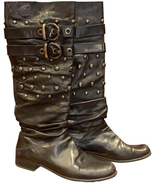 Item - Black Slouchy Leather Boots/Booties Size US 7.5 Regular (M, B)