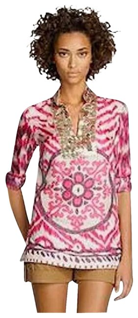 Item - Multi-color Tunic Geo Print V Neck Embellished Blouse Size 10 (M)