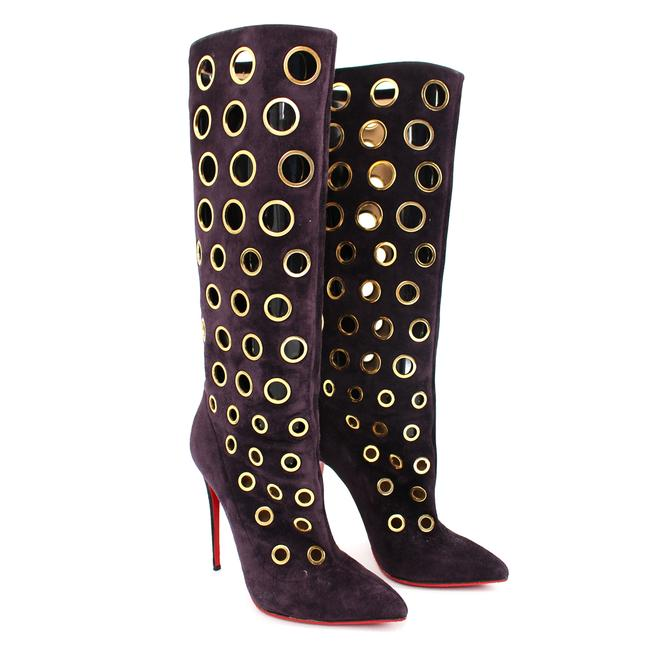 Item - Purple Suede Goldtone Eyelet Apollo 100 Knee High Boots/Booties Size EU 37.5 (Approx. US 7.5) Regular (M, B)