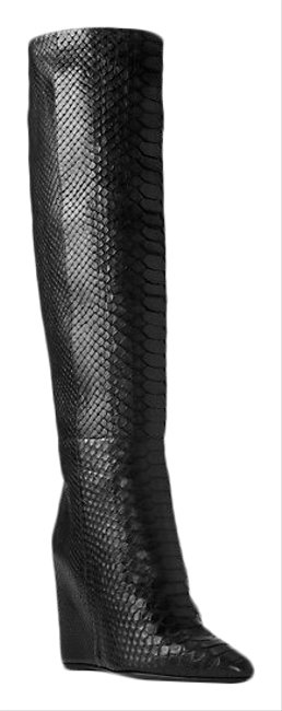 Item - Black Collection Steff Python and Leather Wedge Style# 46f7sthb5r Boots/Booties Size EU 39.5 (Approx. US 9.5) Regular (M, B)