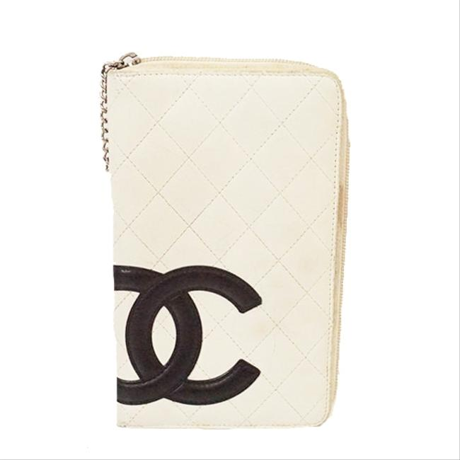Item - Black / White Long Cambon Bifold Women's Leather Wallet
