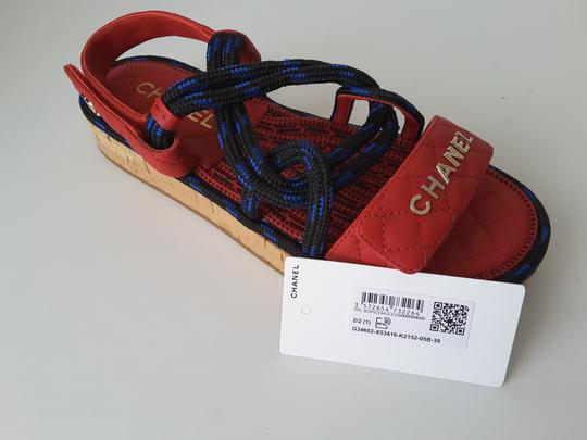 Chanel Red Black&blue Spring -summer Collection Cord Sandals Size EU 39 (Approx. US 9) Regular (M, B) - Tradesy
