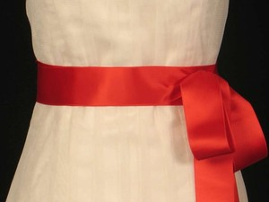 Flame Red Ribbon Sash 2
