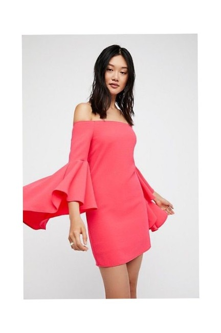 Item - Pink Let's Dance Off The Shoulder Flare Sleeve Short Night Out Dress Size 6 (S)