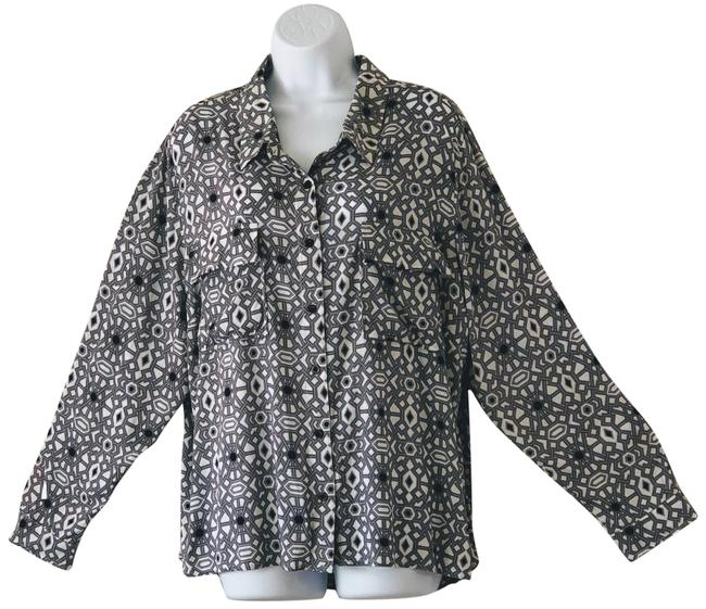 Item - Gray Black and White Blouse Button-down Top Size 22 (Plus 2x)