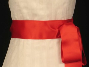 Flame Red Ribbon Sash 2 3/4