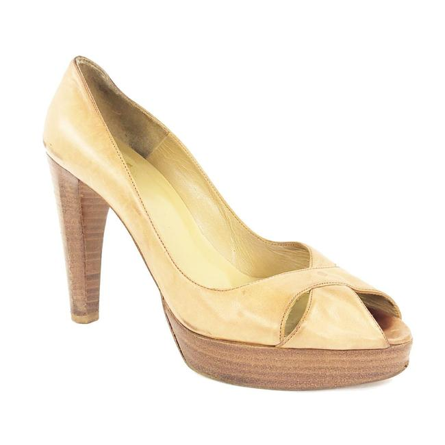 """Item - Tan Leather Crisscross Open 4.5"""" Chunky Stacked He Pumps Size US 7.5 Regular (M, B)"""