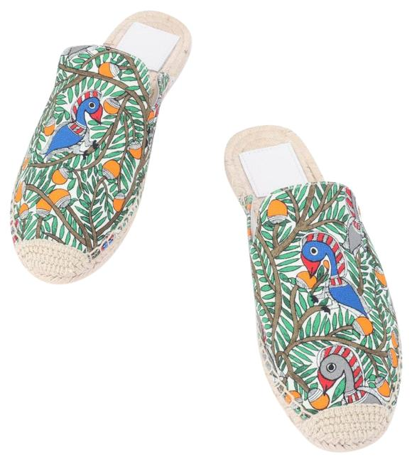 Item - Green Wild Bird Espadrille Slide Sandals Flats Size US 8 Regular (M, B)