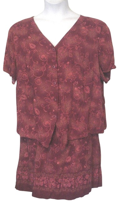 Item - Red Woman Pink Button Down Top / 2 Piece Skirt Suit Size 20 (Plus 1x)