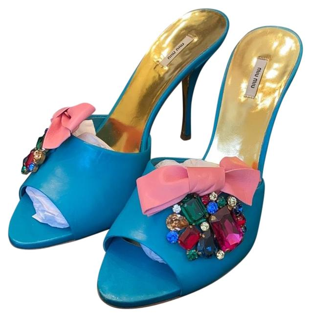 Item - Turquoise Jeweled Mules/Slides Size EU 38 (Approx. US 8) Regular (M, B)