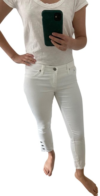 Item - White Light Wash Marine Button Crop Capri/Cropped Jeans Size 2 (XS, 26)