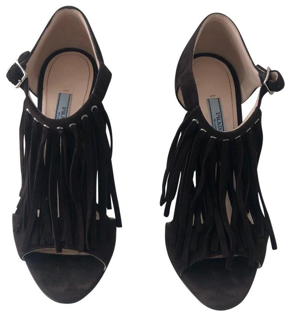 Item - Brown Suede Fringed and Studded High Heel Formal Shoes Size EU 38 (Approx. US 8) Regular (M, B)