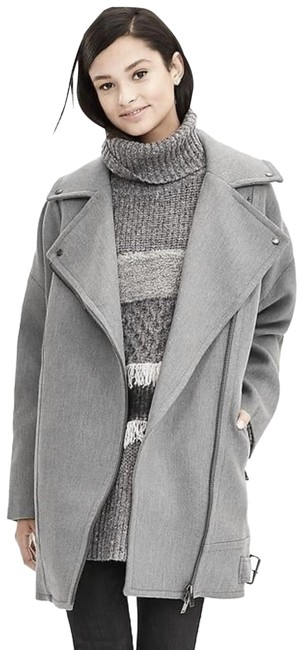 Item - Gray Cocoon Cotton Moto Coat Size 0 (XS)