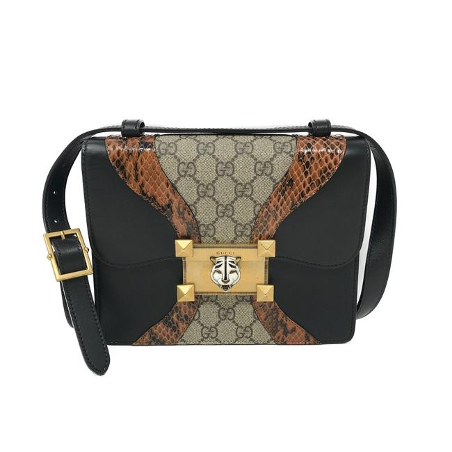 Gucci Osiride Genuine Snakeskin Black and Brown Gg Supreme Canvas Shoulder Bag Gucci Osiride Genuine Snakeskin Black and Brown Gg Supreme Canvas Shoulder Bag Image 1