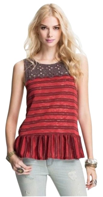 Free People Red Brown Retro Molly Tank Top/Cami Size 0 (XS) Free People Red Brown Retro Molly Tank Top/Cami Size 0 (XS) Image 1