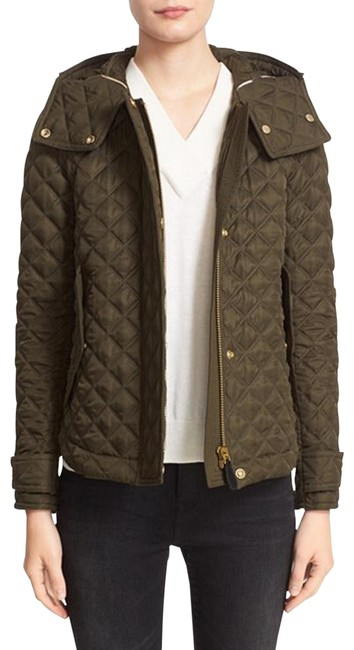 Item - Olive Green Leightonbury Nova Check Lined Quilted Hooded Jacket Size 12 (L)