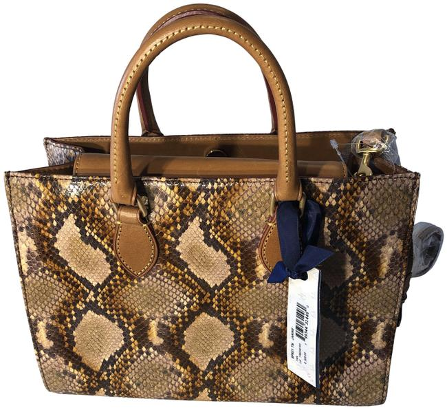 Item - Snake Embossed Multi Cognac Leather Shoulder Bag