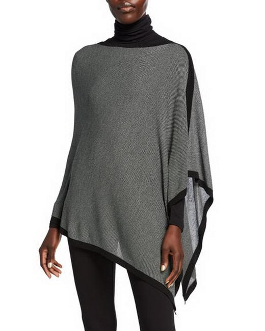 Item - Black And Asymmetric with Piping Poncho/Cape Size OS (one size)