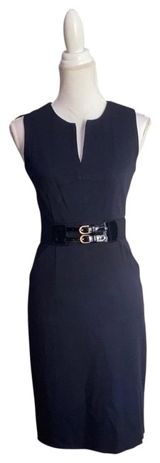 Item - Blue Wool Sleeveless Sheath Mid-length Work/Office Dress Size 2 (XS)