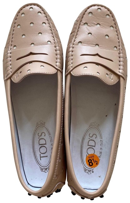 Item - Pink and Tan Leather Dotted Boat Driving Loafers Flats Size EU 39.5 (Approx. US 9.5) Regular (M, B)
