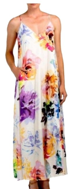 Item - White Multi Floral Airbrush Long Night Out Dress Size 6 (S)