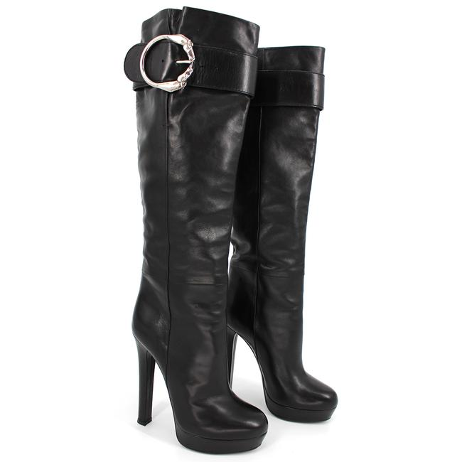 Item - Black Josephine Metal Horse Ring Buckle Knee Boots/Booties Size EU 36 (Approx. US 6) Regular (M, B)