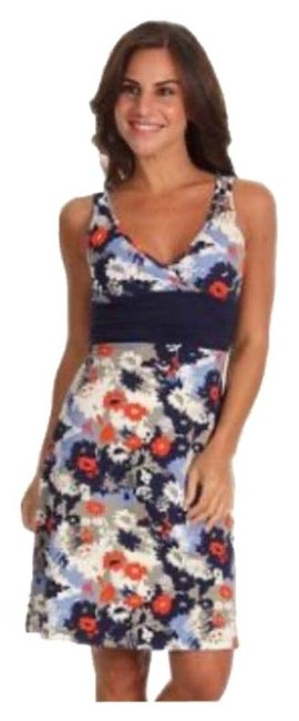 Item - Blue Red Margot Dew Drop Floral Mid-length Short Casual Dress Size 6 (S)
