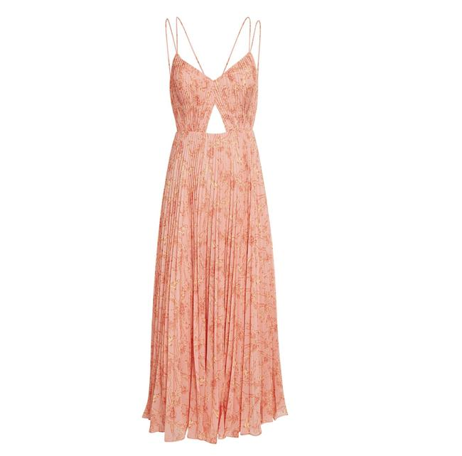 Item - Peach Pink Lucy Pleated Long Casual Maxi Dress Size 6 (S)