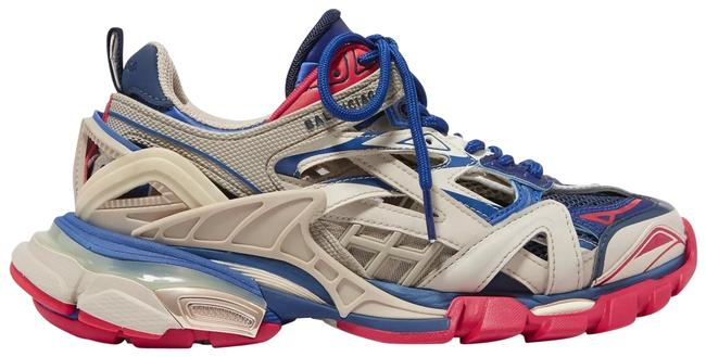 Item - Beige/Blue/Red Track.2 Chunky Mixed Media Sneakers Size EU 39 (Approx. US 9) Regular (M, B)