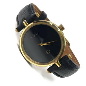 Gucci Gold Steel Watches w Black Leather Band