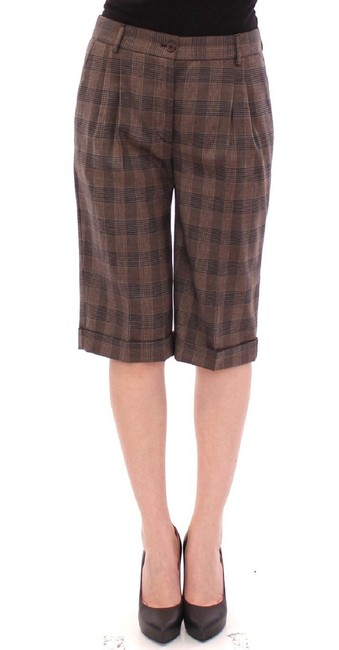 Item - Brown Checkered Wool Pant Dolce & Gabbana Shorts Size 2 (XS, 26)