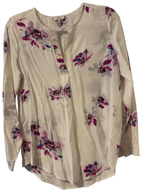 Item - Purple and Grey Floral On Cream Silk Blouse Size 4 (S)