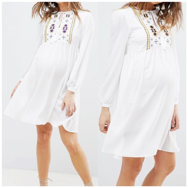 Item - White Bloom X Asos Embroidery Maternity Short Casual Dress Size 12 (L)