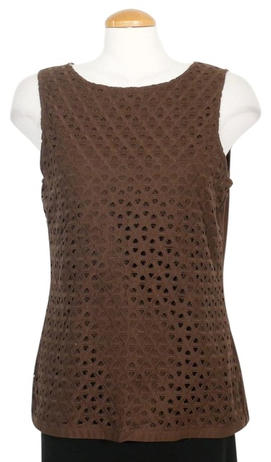 Item - Brown L Stretch Cotton Embroidered Eyelet Overlay Sleeveless Blouse Size 12 (L)