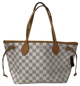 Louis Vuitton Neverfull Leather Damier Canvas Tote in Cream