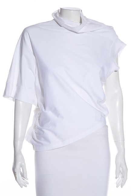 Item - White Asymmetrical Cottton Tee Shirt Size 4 (S)