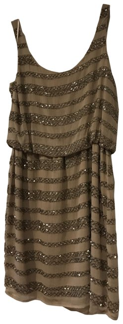 Item - Taupe Sequin Short Casual Dress Size 4 (S)