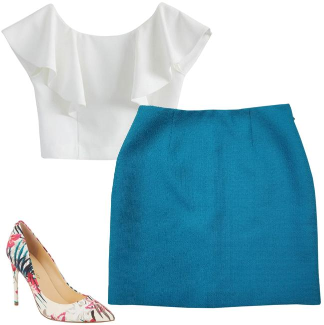 Item - Turquoise Textured Skirt Size 2 (XS, 26)