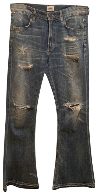 Item - Distressed Boot Cut Jeans Size 4 (S, 27)