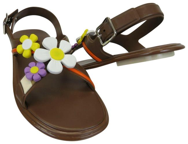 Prada Brown 1x601h Rubber Flower Logo Buckle Strap Flats Italy Sandals Size EU 38.5 (Approx. US 8.5) Regular (M, B) Prada Brown 1x601h Rubber Flower Logo Buckle Strap Flats Italy Sandals Size EU 38.5 (Approx. US 8.5) Regular (M, B) Image 1