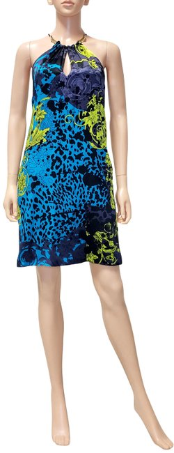 Item - Blue/Multi Silk Barocco Animal Wild Patch Printed 38 - Mid-length Cocktail Dress Size 2 (XS)