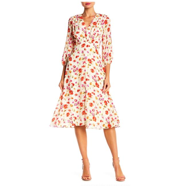 Item - Multi Color 3/4 Sleeve Floral Midi Mid-length Short Casual Dress Size 10 (M)