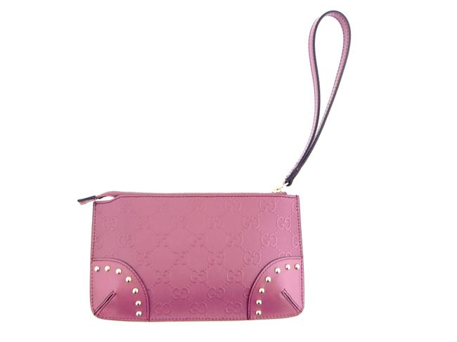Item - Pink ssima Gg Monogram Leather Travel Toiletry Wristlet Cosmetic Bag